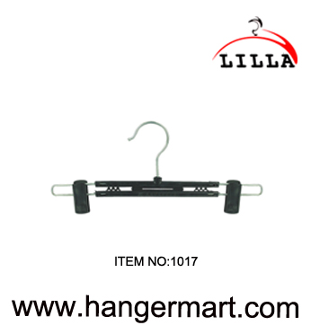 LILLA-Hot sale black plastic trouser hanger with metal hook 1017