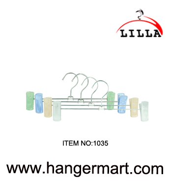 SMALL- breites Metall Kleiderbügeln verstellbarer pant / skirt clips 27cm 1035