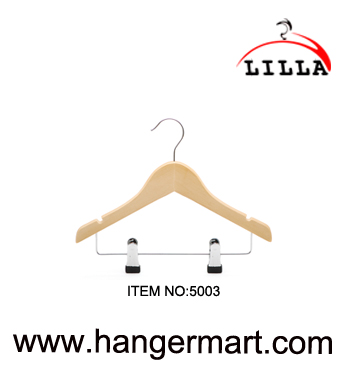 LILLA-maple color wooden baby clothes hangers with drop bar & clips 5003