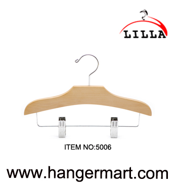 LILLA-Flat style baby wooden hanger with adjustable clips 5006