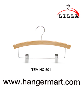 LILLA-Natural wooden trouser adjustable clip baby hanger with chrome clips  5011