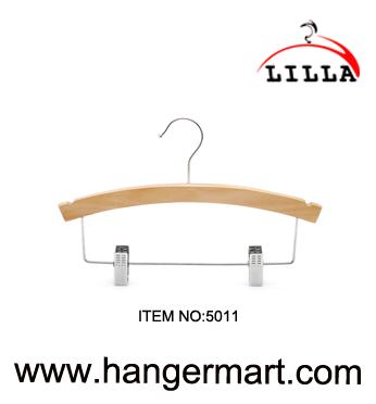 LILLA-percha de madera natural del pantalón ajustable del bebé del clip con los clips de cromo  5011