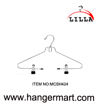 LILLA-Chromed plated metal clothes hanger with metal clips and belt rack MCSH424
