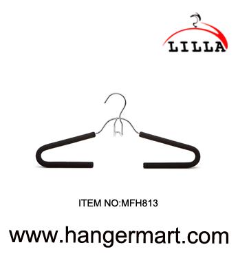 LILLA-Metal Non-slip black foam hanger with chrome hook MFH813