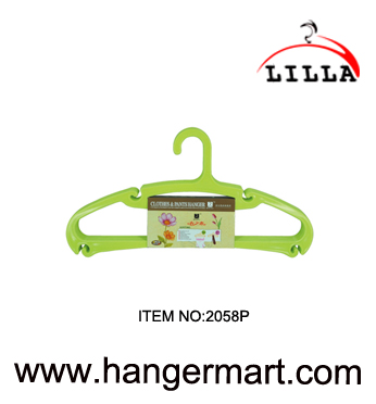 LILLA-household green color plastic durable coat hangers 2058P
